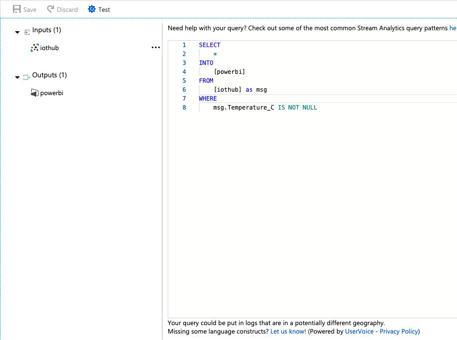 IoT HUb Query for PowerBI Dahsboard